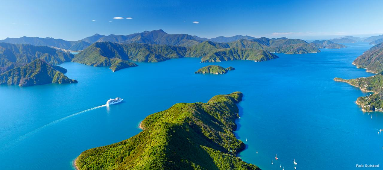 Cruise ship in Marlborough Sounds, New Zealand. Leaving Picton i