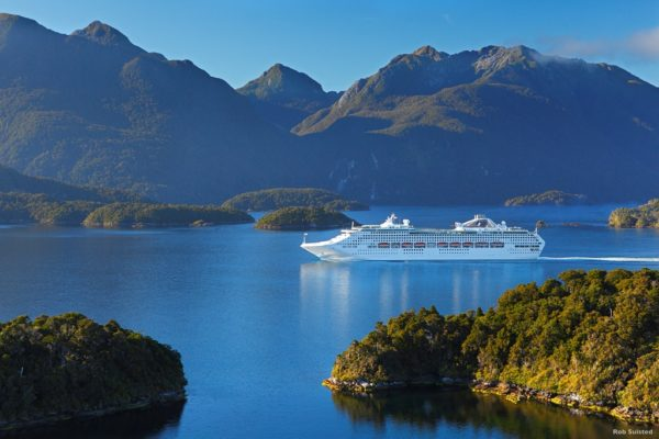 Cruise ship in remote Dusky Sound, Fiordland National Park